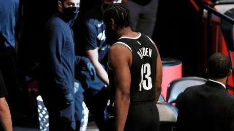 Brooklyn Nets guard James Harden leaves the court