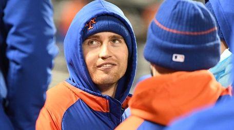 New York Mets' Brandon Nimmo looks on from
