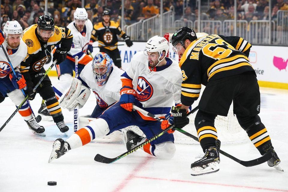 Adam Pelech #3 of the New York Islanders