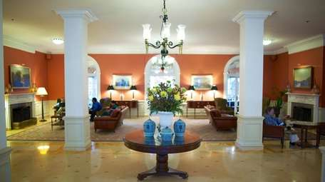 The lobby of the Gideon Putnam Resort, which