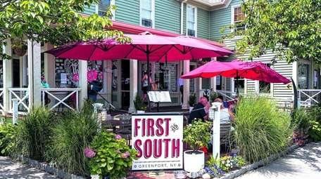 Guests dining at First and South cafe in