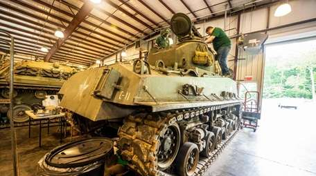An American M4 Sherman tank is seen at