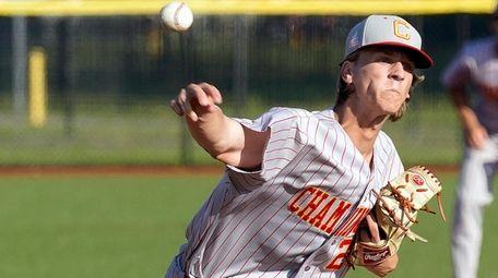 Chaminade relief pitcher Andrew Heiderstadt (25) throws during