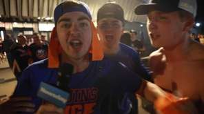 Islanders fans celebrate the team's series-ending victory over