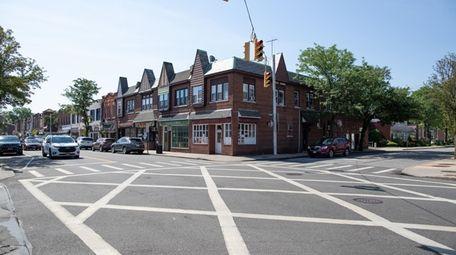 Shops along Tulip Avenue Floral Parks business district,