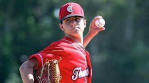 Connetquot starting pitcher Sean Mileti delivers a pitch