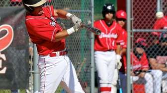 Connetquot's Nick Ricci drives an RBI single to
