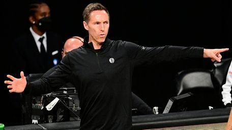 Nets head coach Steve Nash reacts against the