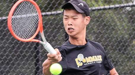 Eddie Liao of Commack competes in the singles
