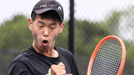 Eddie Liao of Commack psyches himself up at