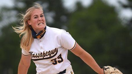 Kimberly Westenberg #33, Massapequa pitcher, reacts after striking