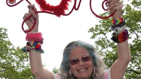 Wendy Baner of Huntington, with pipe cleaner creations