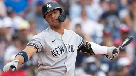 Gleyber Torres of the Yankees reacts after striking