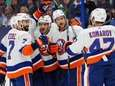 Ryan Pulock of the Islanders is congratulated by