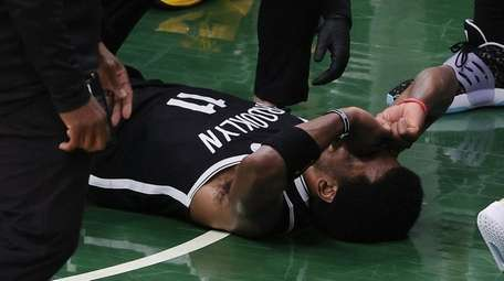Kyrie Irving of the Nets is injured during