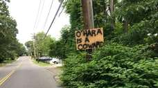 A sign on Hoffman Lane in Hauppauge referring