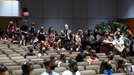 People line up at the Commack Board of