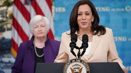 US Vice President Kamala Harris, with Treasury Secretary