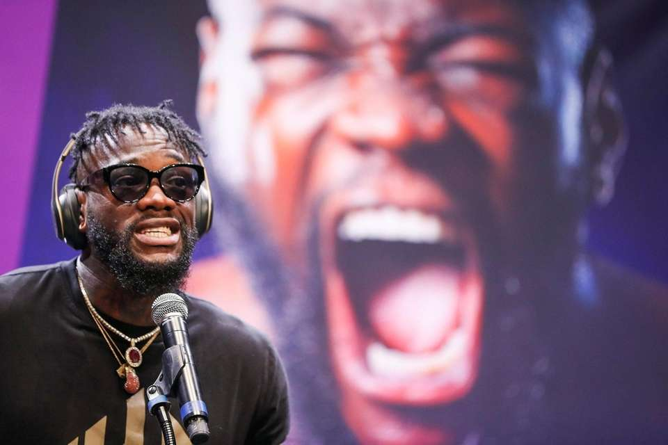Deontay Wilder speaks briefly during the press conference