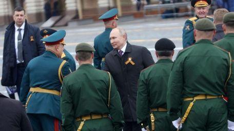 Russian President Vladimir Putin at a parade in