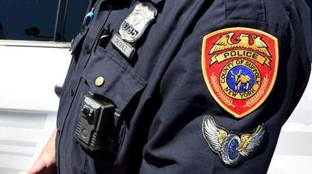 A Suffolk County Police highway patrol officer wears