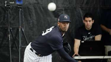 The Yankees' Luis Severino throws during a 2020
