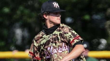 Patchogue-Medford starting pitcher Josh Knoth starts his windup