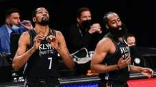 Kevin Durant and James Harden of the Nets