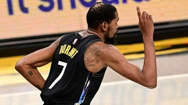 Kevin Durant of the Brooklyn Nets celebrates a