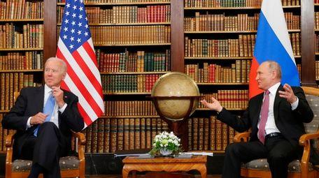 U.S. President Joe Biden, left, and Russia's President