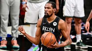 Kevin Durant of the Nets celebrates against the