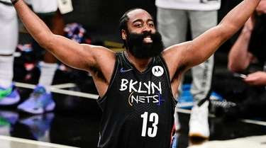 James Harden of the Nets celebrates against the