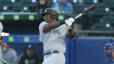 Chris Gittens #92 of the Yankees hits a