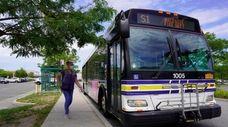 Bus stop at Walt Whitman Mall, Huntington Station,