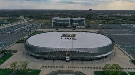 Aerial of NYCB Live Nassau Coliseum in Uniondale,