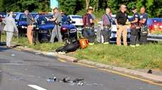 A motorcycle involved in a fatal crash on