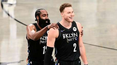 James Harden #13 and Blake Griffin #2 of