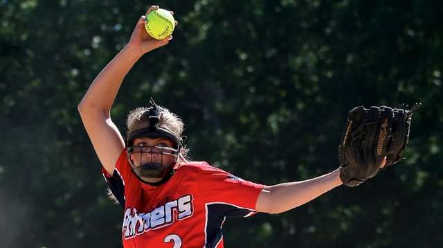 Miller Place starting pitcher Jessica Iavarone delivers a
