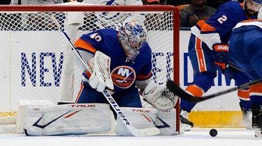 Ilya Sorokin of the New York Islanders defends