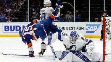 Andrei Vasilevskiy of the Tampa Bay Lightning makes