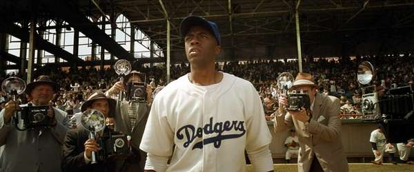 Chadwick Boseman stars as Jackie Robinson in Warner