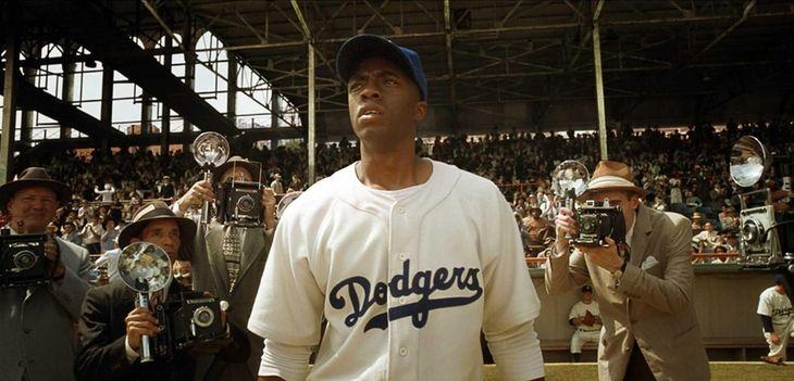 Chadwick Boseman stars as Jackie Robinson in Warner