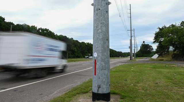 Large steel poles installed by PSEG line southbound