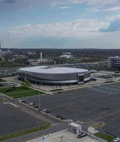 An aerial of NYCB Live Nassau Coliseum in