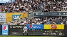Aaron Judge #99 of the Yankees stands in
