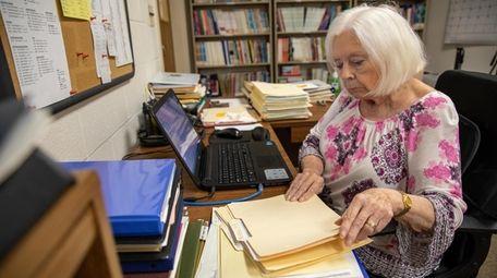 Literacy Suffolk volunteer Marylou Krzeski at work at