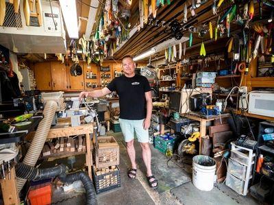 Chris Voorhies in his workshop in Harbor Isle.