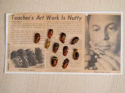 Howard Kleiner's carvings made of almonds sit atop