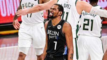 Kevin Durant #7 of the Nets celebrates against