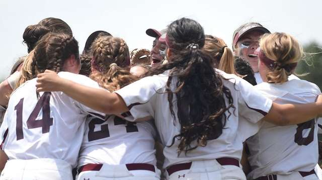 Bay Shore teammates celebrate after their 2-0 win
